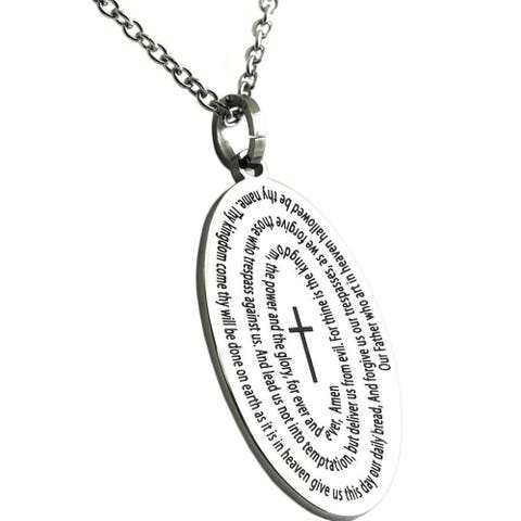 Lords Prayer Cross Necklace Stainless Steel Pendant