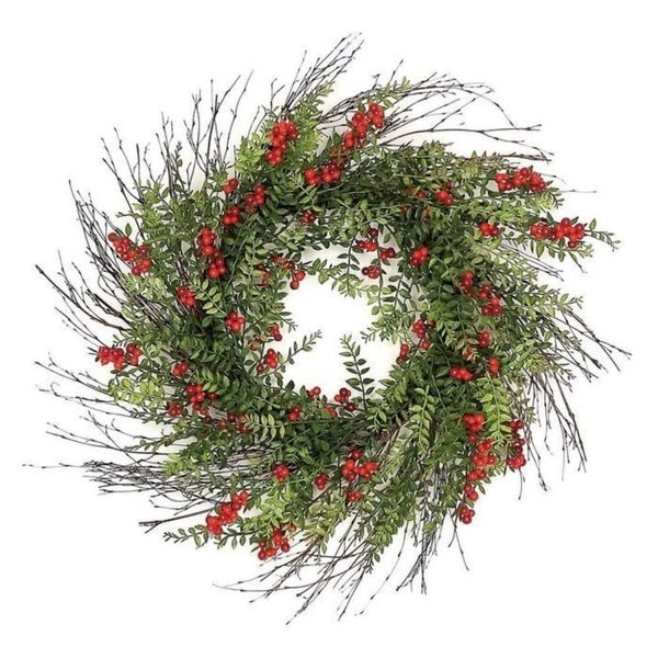 "24"" Outdoor red berry and hawthorn wreath"