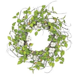 "24"" Cotton and Birch Leaf Wreath"