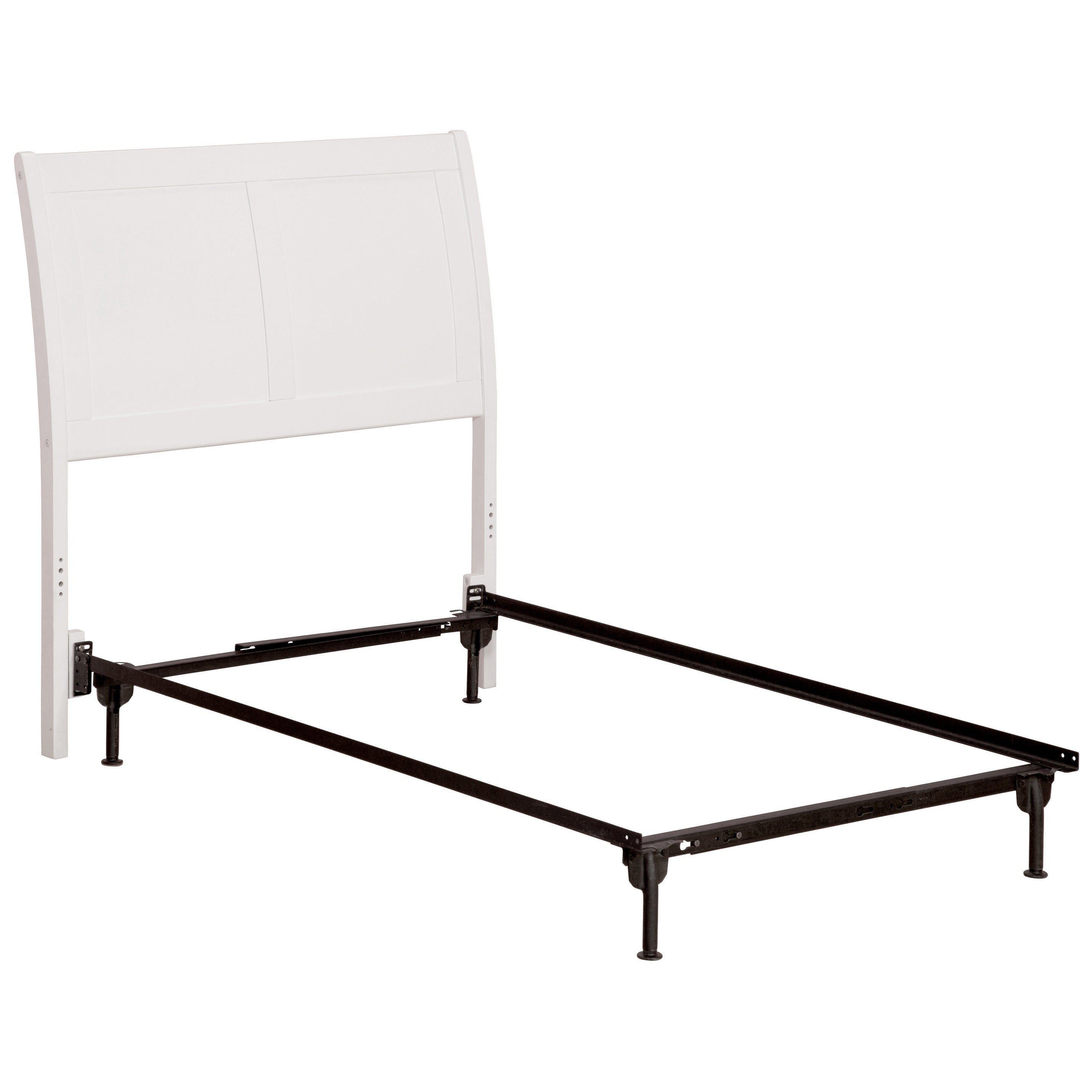 Portland Headboard TW with Metal Bed Frame White White Twin