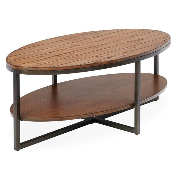 Shop Rockville Oval Metal And Wood Cocktail Table Free