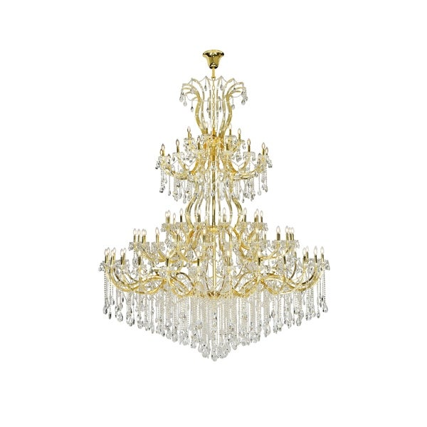 Fleur Illumination 84 light Gold Chandelier with clear tear drop crystals