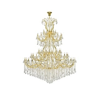 Fleur Illumination Goldtone Steel/Glass 84-light Chandelier with Clear Teardrop Crystals