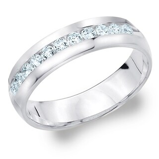 Amore 10KT White Gold Men's .50CT Channel Set Diamond Wedding Band