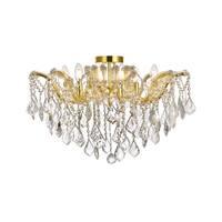 Fleur Illumination Gold Finish Steel/Crystal 6-light Flush Mount