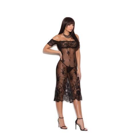 Elegant Moments Women's Off the shoulder tea length lace gown