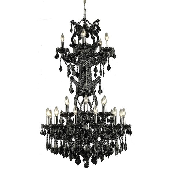 Fleur Illumination Collection Chandelier D:30in H:50in Lt:25 Black Finish