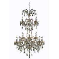 Fleur Illumination Collection Chandelier D:32in H:50in Lt:24 Golden Teak Finish