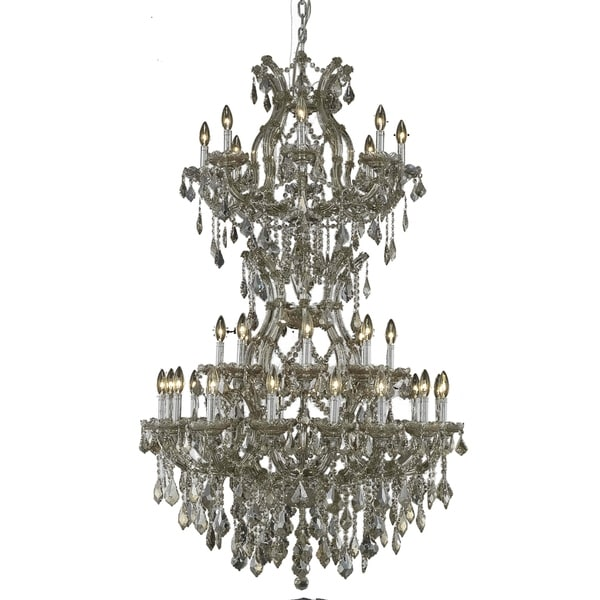 Fleur Illumination Collection Chandelier D:36in H:56in Lt:34 Golden Teak Finish