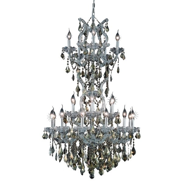 Fleur Illumination Collection Chrome Steel 50-inch High x 30-inch Deep 25-light Chandelier with Golden Teak Royal-cut Crystals