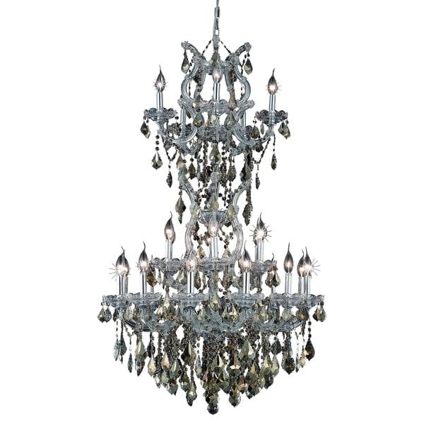 Fleur Illumination Collection Chandelier D:30in H:50in Lt:25 Chrome Finish - royal cut crystals (golden teak)
