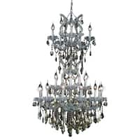 Fleur Illumination Collection Chandelier D:30in H:50in Lt:25 Chrome Finish - royal cut crystals (golden teak)