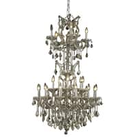 Fleur Illumination Collection Chandelier D:30in H:50in Lt:25 Golden Teak Finish
