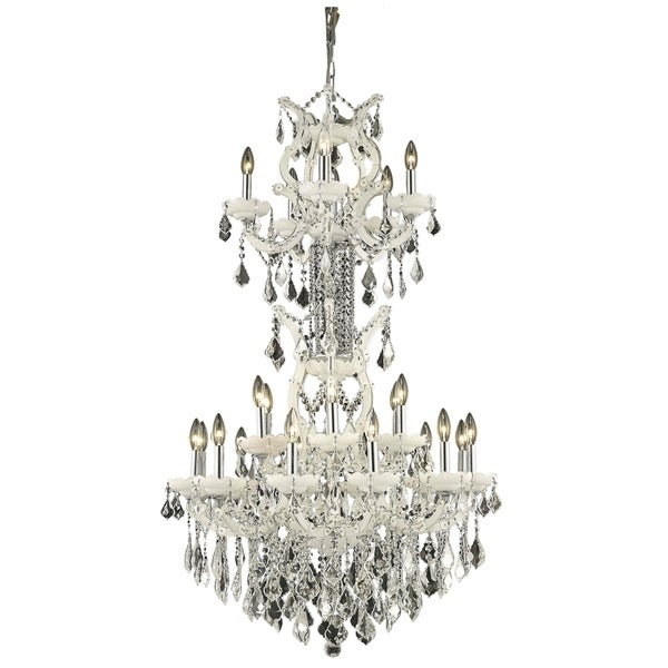 Fleur Illumination Collection Chandelier D:30in H:50in Lt:25 White Finish