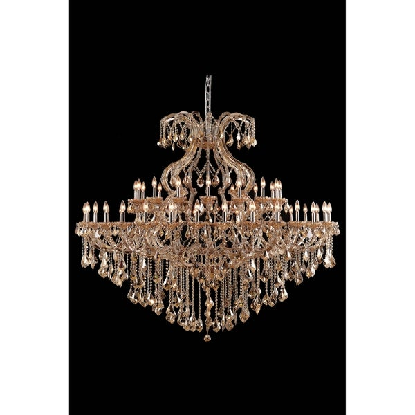 Fleur Illumination Collection Chandelier D:72in H:60in Lt:49 Golden Teak Finish