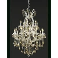 Fleur Illumination Collection Chandelier D:32in H:42in Lt:19 Golden Teak Finish