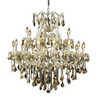 Fleur Illumination Collection Chandelier D:36in H:36in Lt:24 Chrome Finish - swarovski® elements crystals (golden teak)