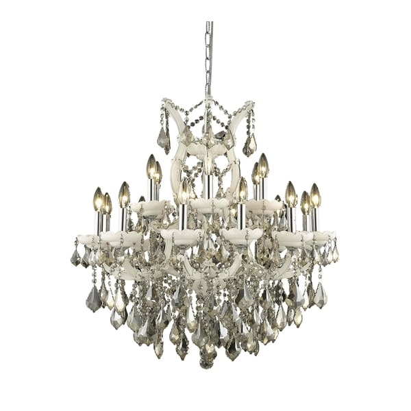 Fleur Illumination Collection Chandelier D:30in H:28in Lt:19 White Finish