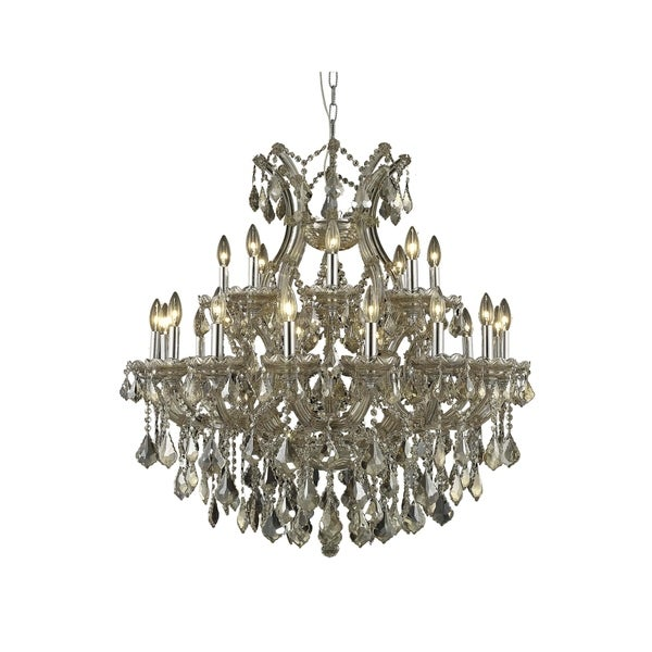 Fleur Illumination Collection Chandelier D:36in H:36in Lt:24 Golden Teak Finish