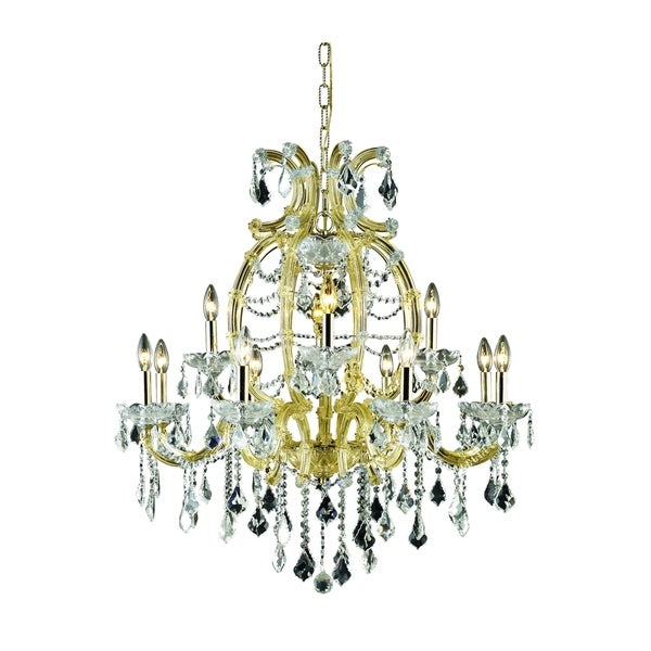 Fleur Illumination Collection Chandelier D:33.5in H:35.5in Lt:12 Gold Finish