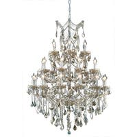 Fleur Illumination Collection Chandelier D:38in H:52in Lt:28 Golden Teak Finish