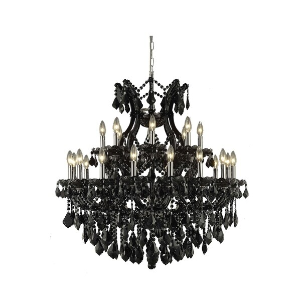 Fleur Illumination Collection Chandelier D:36in H:36in Lt:24 Black Finish