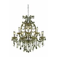 Fleur Illumination Collection Chandelier D:33.5in H:35.4in Lt:12 Golden Teak Finish