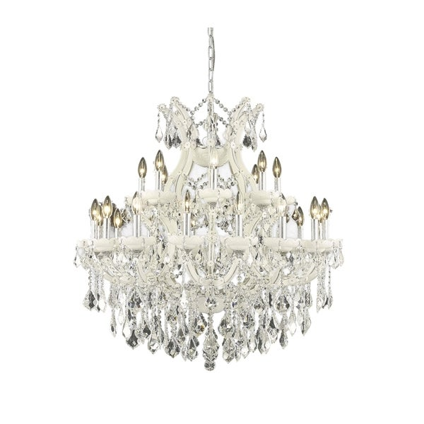Fleur Illumination Collection Chandelier D:36in H:36in Lt:25 White Finish