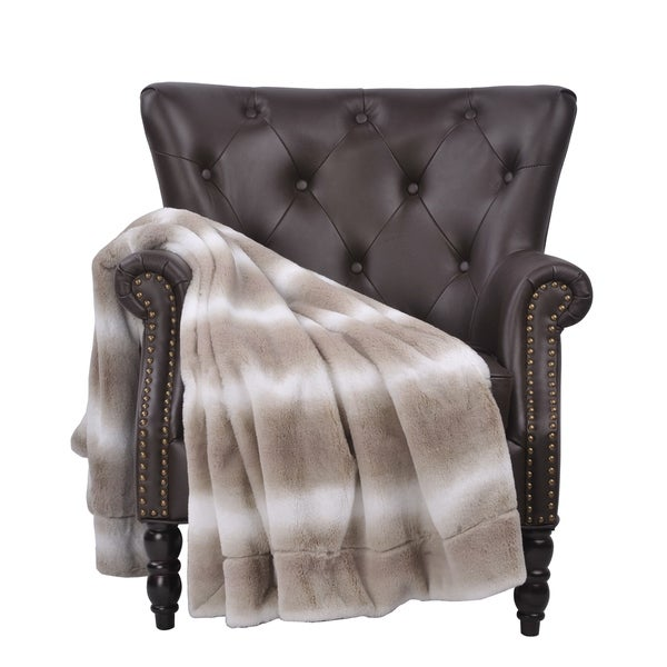 BOON Beckie Striped FauxFur Throw with Micromink Backing