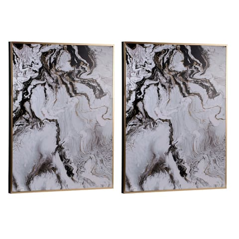 Set of 2 White Framed Marbled Wall Decor Panels, 30.5x2x40 inches