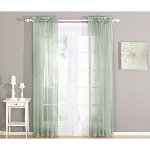 Serenta Solid Voile Curtain Set Long Rod Pocket Sheer Window Curtains
