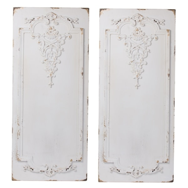 Prasoon Weathered Textured White Wall Panels (Set of 2)