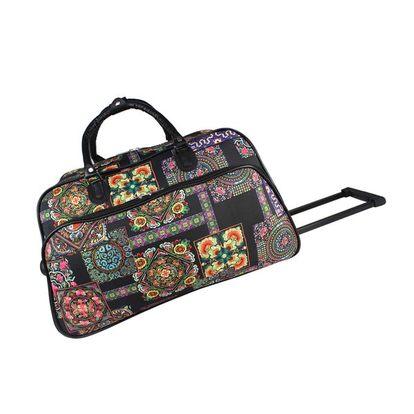 World Traveler Floral Multi Patchwork 21-Inch Carry-On Rolling Duffel Bag