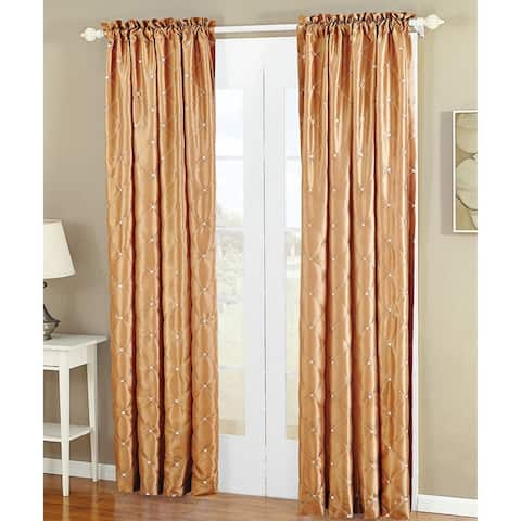 Serenta Doris Diamond Embroidery Light Reducing Faux Silk Curtain