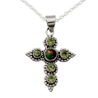 Handmade Sterling Silver 'Divine Harmony' Turquoise Peridot Necklace (India)