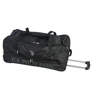 U.S. Polo Association 30-inch Black Deluxe Drop Bottom Rolling Duffel Bag