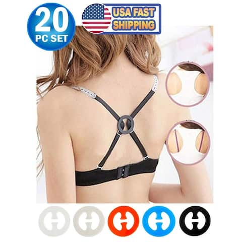 Bra Strap Clips For Back - Conceal Bra Straps, Bra Strap Holder, Cleavage Control - Add Full Cup Size (20pc)