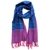 Handmade Indiago & Magenta Cotton Ikat Scarf- Fair Trade (India)