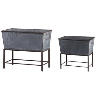 """Set of 2, Zale Planters with Stands L:20x12x19.5"""" S:16.5x9.5x14.5"""""""