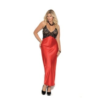 Elegant Moments women's plus size halter style long charmeuse gown