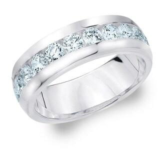 Amore 18KT White Gold Men's 2CT TDW Channel Set Diamond Wedding Band