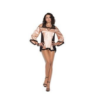 Elegant Moments women's cold shoulder charmeuse night shirt and matching panty