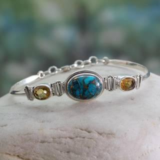 Handmade Sterling Silver 'Mumbai Glam' Citrine Turquoise Bracelet (India)