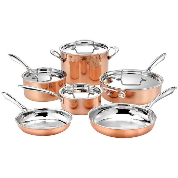 Shop Cuisinart 10 Piece Tri Ply Copper Cookware Set Free