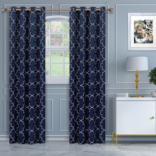 Superior Imperial Trellis Blackout Grommet Curtain Panel Pair