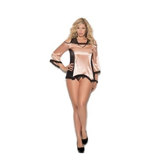 Elegant Moments Women's plus size cold shoulder charmeuse night shirt and matching panty