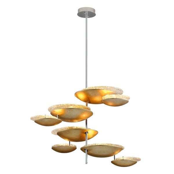 Corbett Lighting Libra 8-light LED Silver Leaf Pendant with Polished Stainless Accents