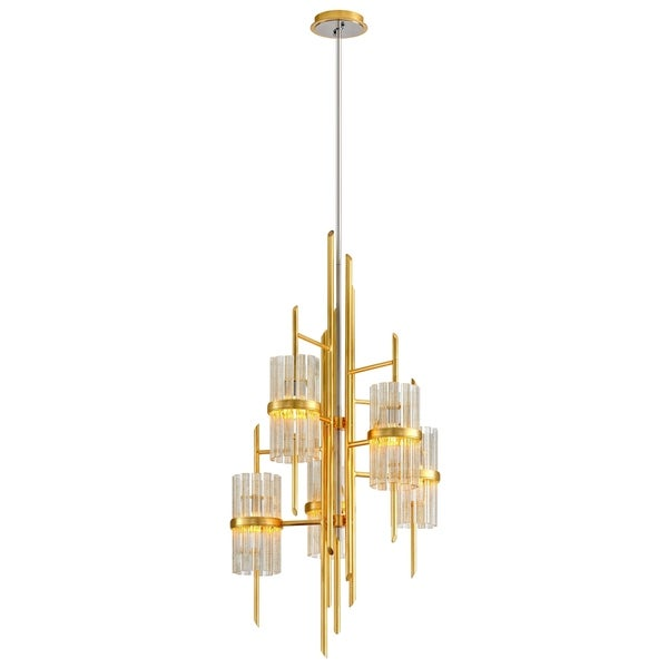 Corbett Lighting Symphony 5-light Gold Leaf Chandelier with Polished Stainless Accents