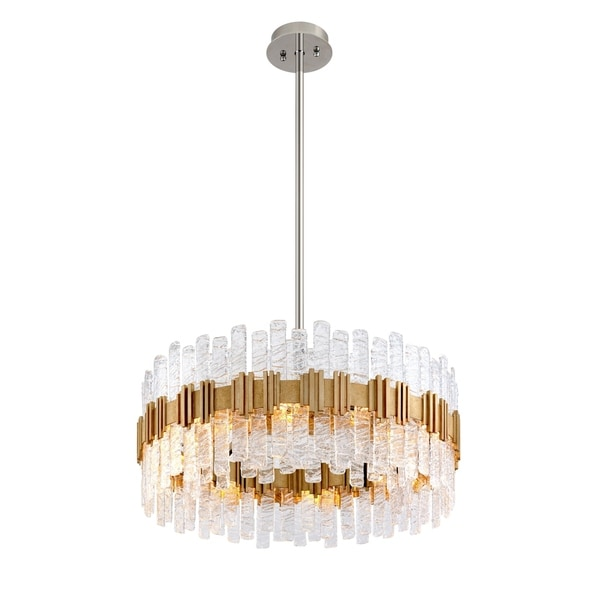 Corbett Lighting Ciro 36-inches Silver Leaf Pendant with Polished Stainless Accents