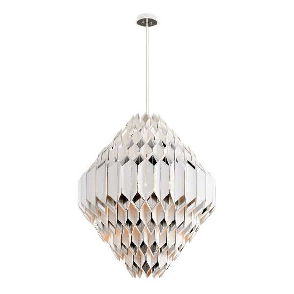 Corbett Lighting Libra 6-light LED Silver Leaf Pendant with Polished Stainless Accents